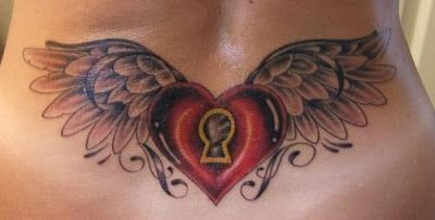 … on Women Lower Back Tattoos With Heart Lock Wings Tattoos Designs