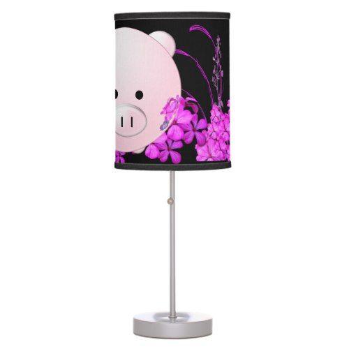 Piggy in purple desk lamp
