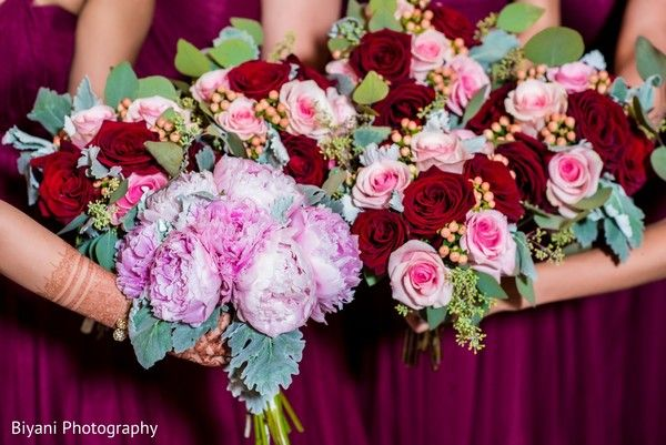 Charming Indian bridal party bouquets. http://www.maharaniweddings.com/gallery/photo/138234