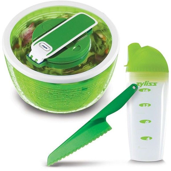 Zyliss 3-pc. Healthy Living Salad Making Set (Green) featuring polyvore, home, kitchen & dining, kitchen gadgets & tools, green, zyliss, zyliss salad spinner, salad bowl, salad knife and green bowl