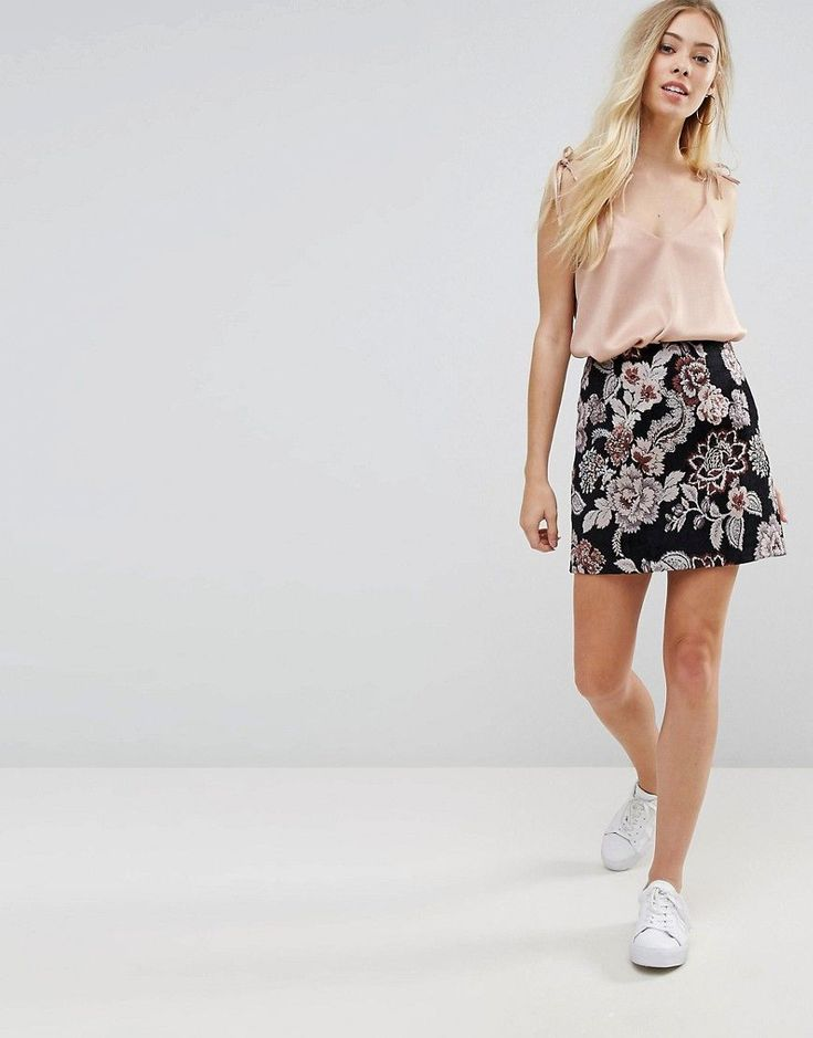 New Look Jacquard Mini Skirt - Black