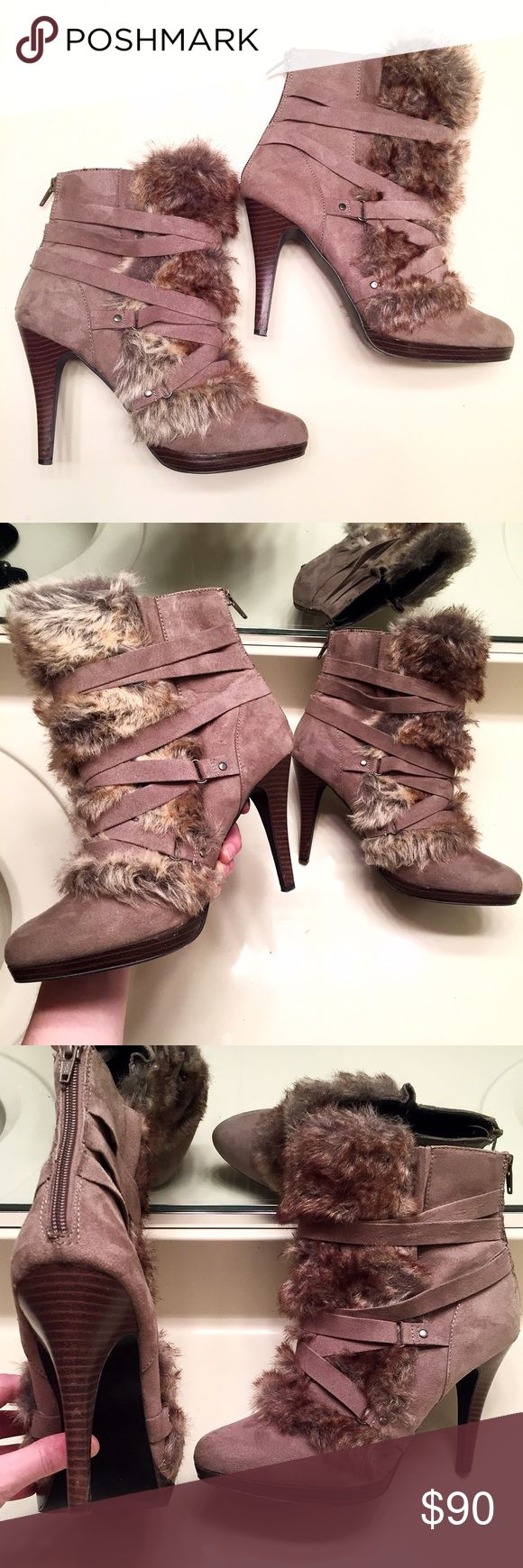 [Elle] gray & brown heeled boots with back zipper These boots have been worn once but are in excellent condition. Super cute and unique style. Perfect for both a casual or classy night out. Women's size 9 Elle Shoes Heeled Boots