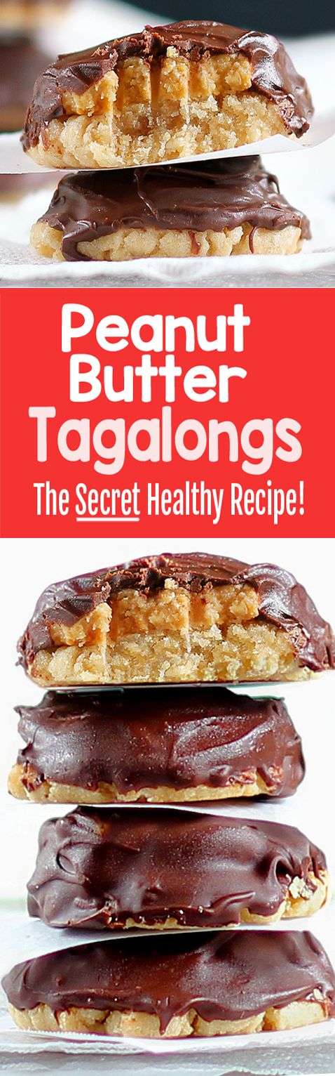 Homemade Peanut Butter Tagalongs, With NO Flour!