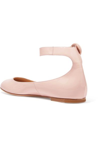Gianvito Rossi - Patent-leather Ballet Flats - Baby pink - IT41.5