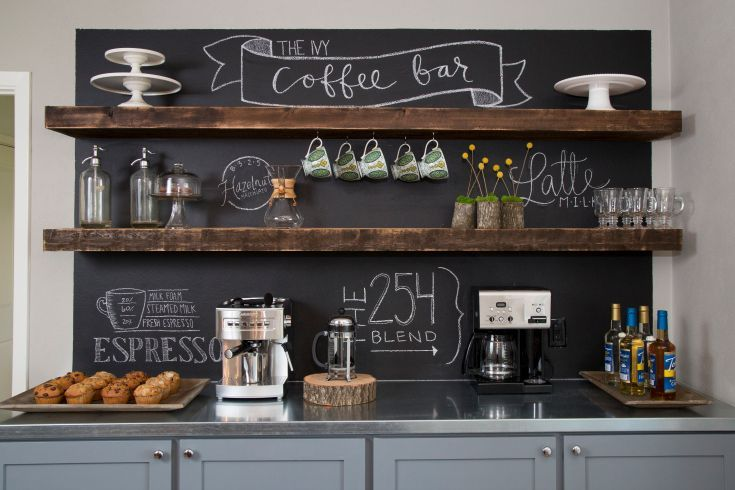 How cool would it be if {maybe one wall of} my kitchen looked like a coffee bar?!: