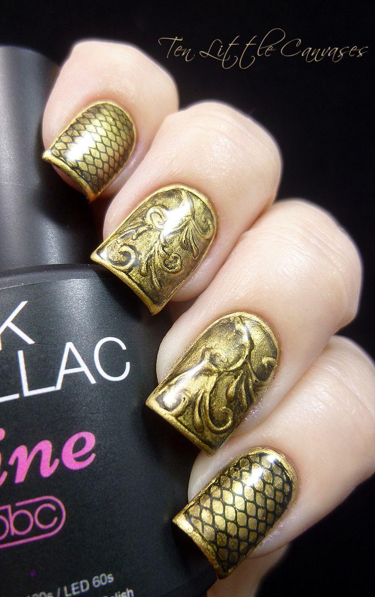 Vintage gold metal #nails #nail #art #mani