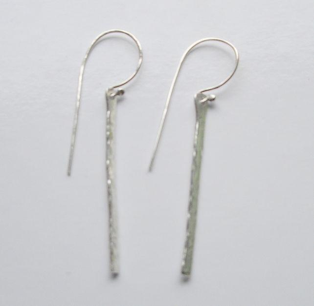 Textured Sterling Silver Drop Earrings £9.50