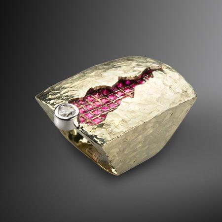 G. Kabirski - 121038 GK Ring - gold 585° brilliant - 0,33 ct ruby - 1,7 ct