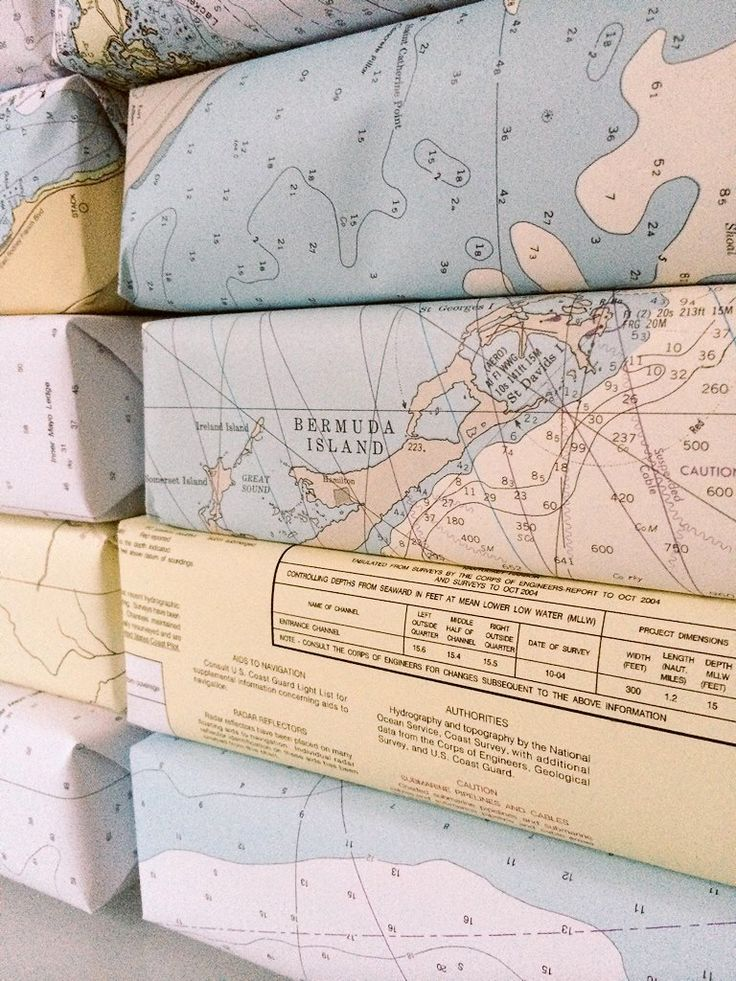 Gift Wrap with nautical chart paper - 5-pack