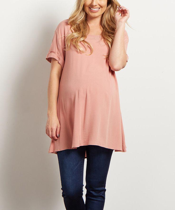 Take a look at this PinkBlush Dusty Pink Chiffon Cuff-Sleeve Maternity Tunic today!