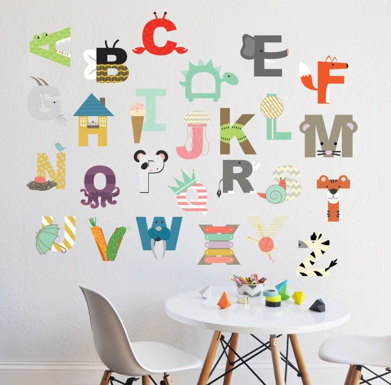 26 INDIVIDUAL LETTERS - approx 6 H Perfect for a childrens room, nursery, or daycare. Fully removable and reusable wall decals that will brighten and add character to any room. -100% polyester fabric self adhesive vinyl -HP Latex Inks -For best result do not use on textured walls or