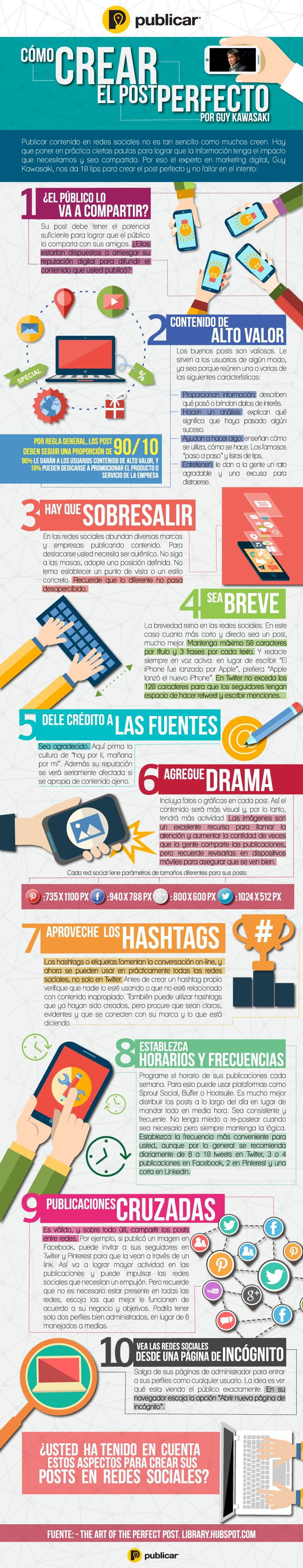 Cómo crear el post perfecto según Guy Kawasaki #infografia #infographic #socialmedia