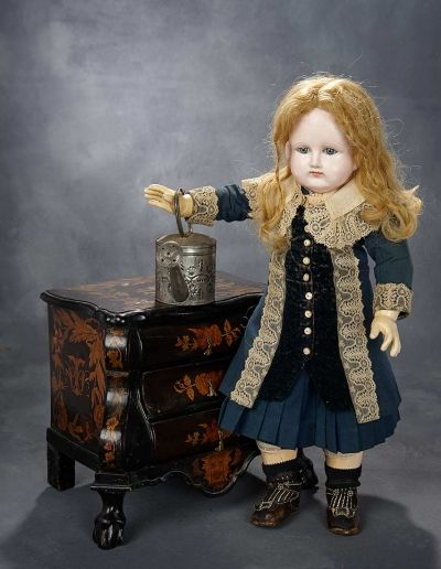 EXPRESSIONS: 23 Earliest Period Rare French Paper Mache Bebe by Schmitt et Fils in Fine Antique Costume