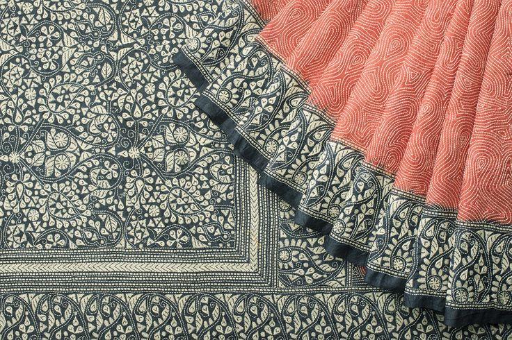 Hand Embroidered Tussar all Over Abstract Kantha Sari 1025635 - Saris / All Saris - Parisera