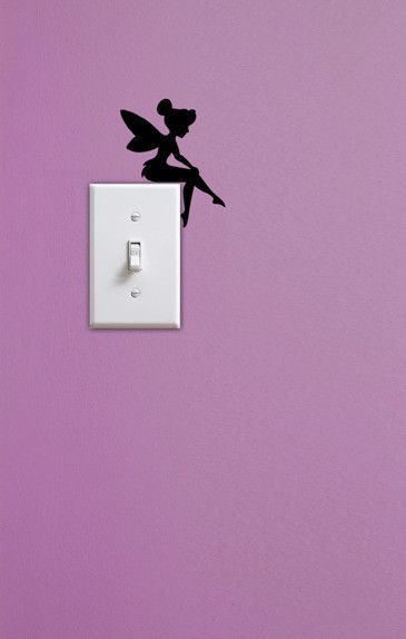 Tinkerbell painted on the wall above a light switch...LOVE this idea! Get an all glitter light switch cover and this would be perfection ♥