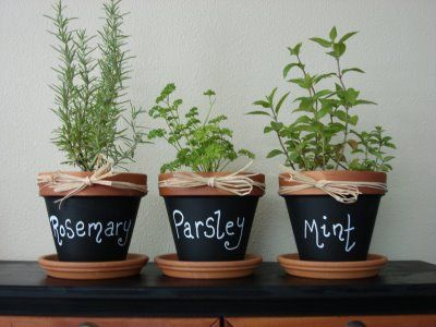 Chalkboard terracotta pots