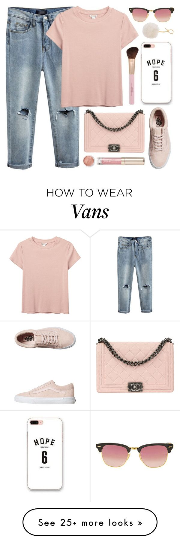 """""""Sunday Morning"""" by monmondefou on Polyvore featuring Sugoi, Monki, Ray-Ban, Chanel, Vans, By Terry, Terre Mère and Pink"""