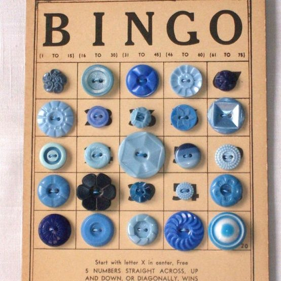 """I have antique and vintage buttons that I am bringing to the June Show, along with wooden Bindo Cards.  Everything you need to make this...""""Button bingo card...too cool"""""""