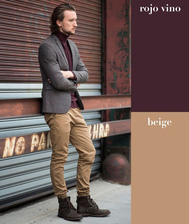Rojo vino + beige | 17 Combinaciones de color que todo hombre puede usar