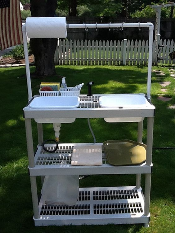 Collapsible Camp Washing Station-I wonder how hard it would be to DIY this for my next camping trip... Just having the washbasin at hip level is better than kneeling under the spigot. I think I would hang a mesh laundry bag from those S hooks at the top for a silverware/plate drying zone. The plastic bins are available at Dollar Tree!