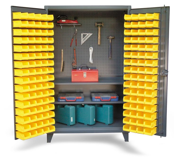 Upright Tool Storage Bin Cabinet - Bin cabinet with pegboard back and shelves. Bins on the doors. 3-point locking device can be locked with a standard padlock.