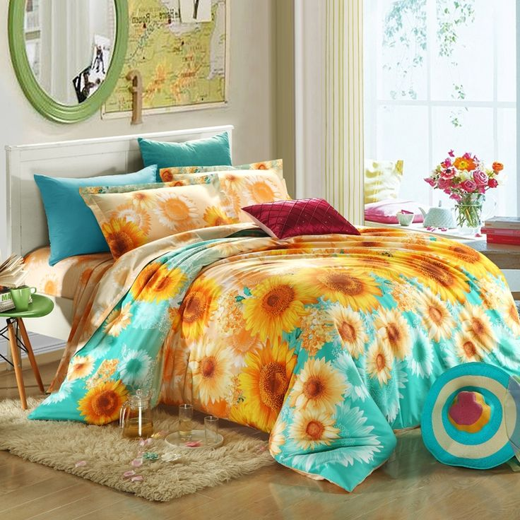 Bright Green and Orange Sunflower Print 100% Cotton Kids and Teen Full, Queen Size Bedding Sets