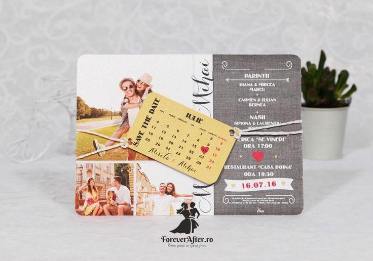 Invitatie de nunta Save The Date cu livrare gratuita prin curier oriunde in tara. Cumpara Invitatii de nunta - Moderne pe ForeverAfter.ro