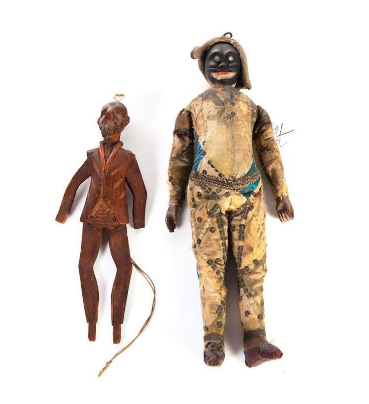 """LOT 371. American, late 19th century. One wears a worn silk harlequin costume, 14""""h. The other fully carved """"Dancing Kack"""" 10""""h. Bad debts will be reported to appropriate credit agencies.   eBay!"""