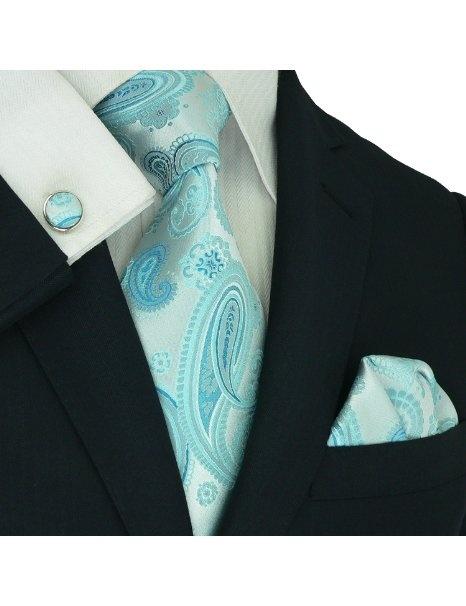 Landisun 187 Light Blue Paisleys Mens Silk Tie Set: Tie+Hanky+Cufflinks