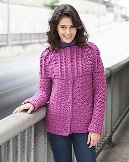 Ravelry: Textured Yoke Cardigan pattern by Bernat Design Studio