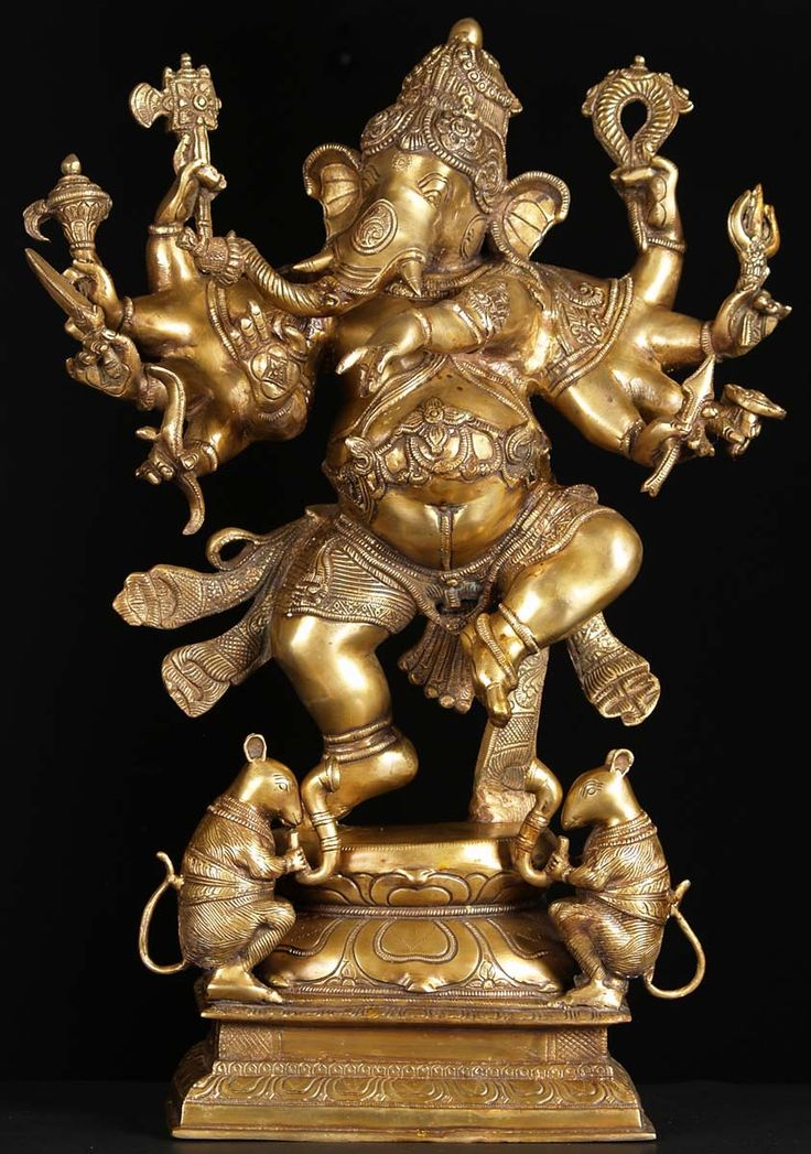 """View the Brass Dancing Ganesh with 2 Rats 25"""""""