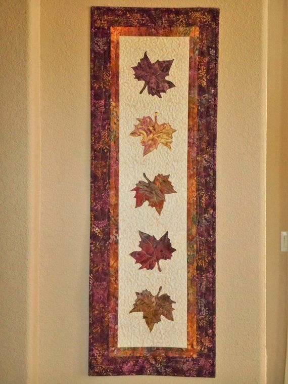 Purple Autumn Leaves Quilted Wall Hanging Fall Wall Art Decor
