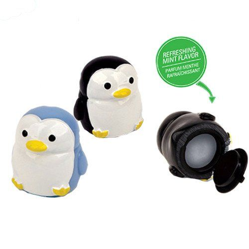 """The coolest, cutest way to soothe dry, chapped lips is our mint flavored, moisturizing penguin lip balm. Each cute little penguin 2"""" tall is filled with refreshing mint flavored lip balm, so carry a c"""