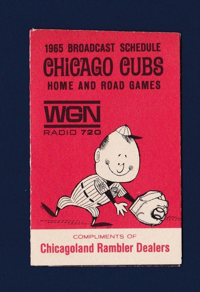 Chicago Cubs 1965 WGN fold-out baseball schedule | Sports Mem, Cards & Fan Shop, Vintage Sports Memorabilia, Schedules | eBay!