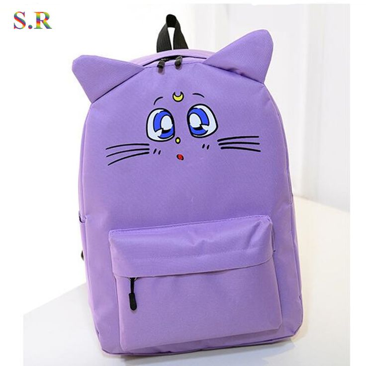 Estilo Harajuku mochila Sailor Moon mochila de lona linda gato hombro del bolso de escuela para adolescente niñas de la mochila mochila CB190(China (Mainland))
