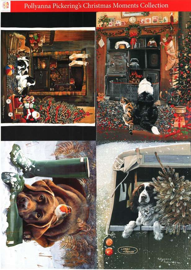 Pollyanna Pickering Christmas Moments Collection  - traditional decoupage #2 - dogs, cat, robin