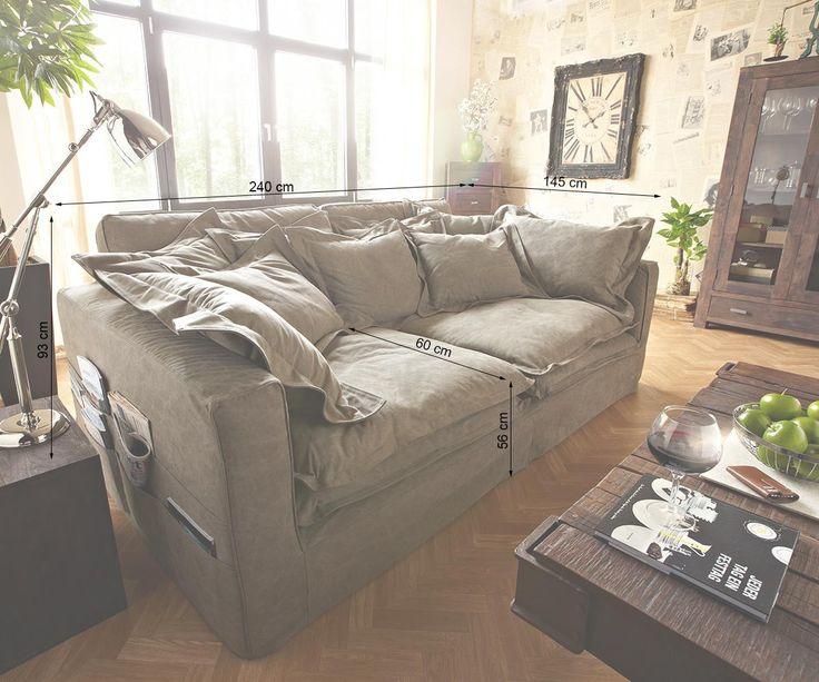 Big Sofa Noelia Braun 240x145 Cm Mit Kissen Hussensofa