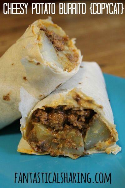 Cheesy Potato Burrito {Copycat} | www.fantasticalsharing.com | #TacoBell #burrito #copycat