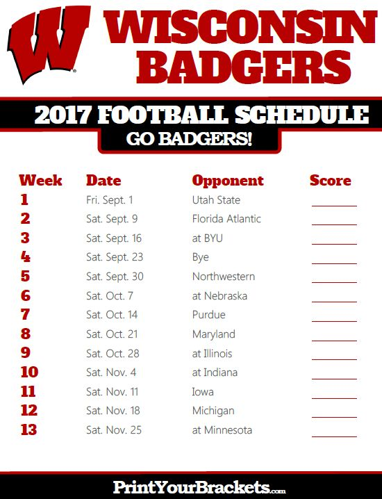 2017 Wisconsin Badgers Football Schedule