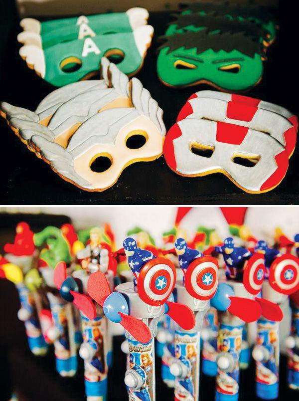 Avengers Inspired Superhero Birthday Bash: Mask cookies