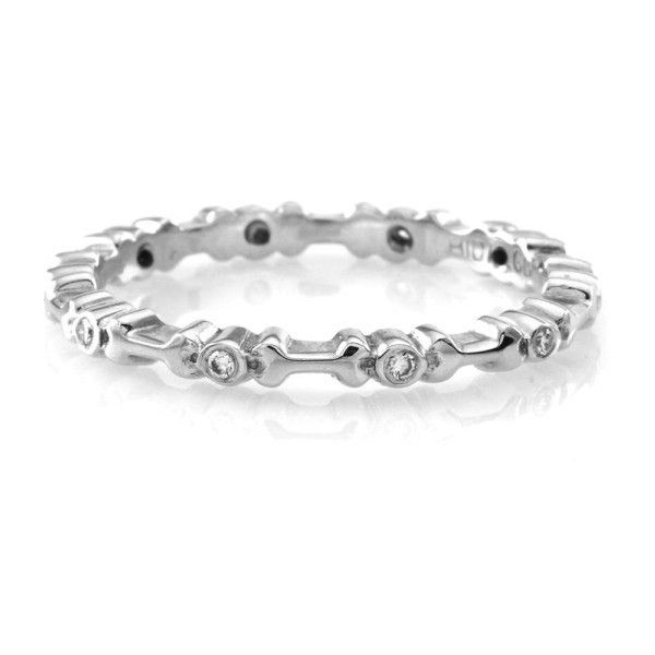 Pre-owned Hidalgo 18K White Gold & Diamond with Bones Stackable... (£860) ❤ liked on Polyvore featuring jewelry, rings, white gold eternity ring, 18 karat diamond ring, 18k diamond ring, diamond jewellery and stackable eternity rings