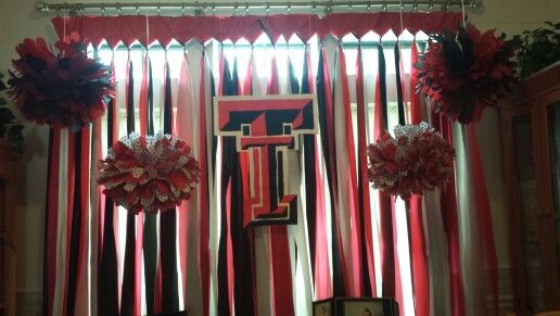 Window decoration for my Texas Tech themed high school graduation party.