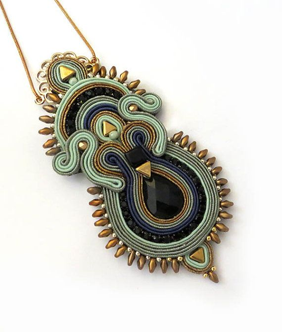 Boho Mint gold necklace soutache OOAK soutache old by sutaszula