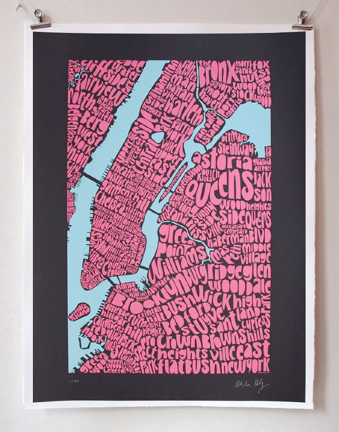 Map NY City print by Seagullu0027s Eye