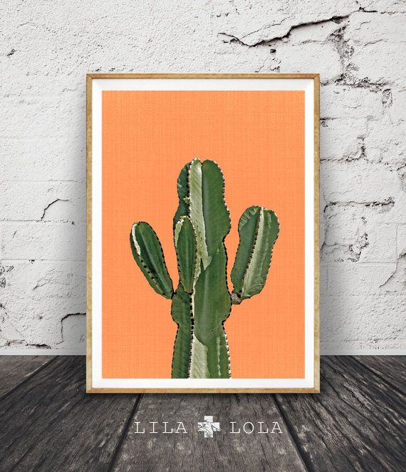 Cactus Print Orange terre cuite mexicain Arizona par LILAxLOLA