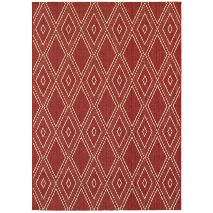 allen + roth Hunsworth Tuscan Red/Sand Rectangular Indoor/Outdoor Machine-Made Southwestern Area Rug (Common: 5 x 7; Actual: 5.3-ft W x 7.4-ft L)