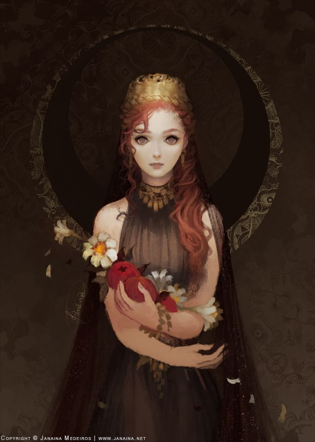 pomegranateandivy: janainaart: Portrait of Persephone, queen of the Underworld.