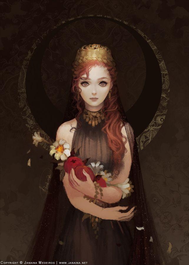 pomegranateandivy: janainaart: Portrait of Persephone, queen of the Underworld.