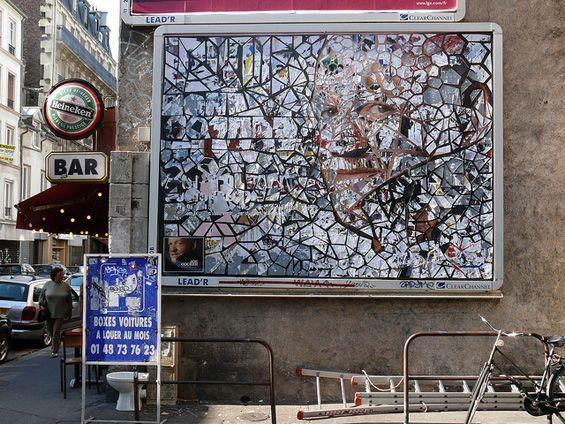Thom Thom's Mosaic-like Patterns Cut into Advertisements