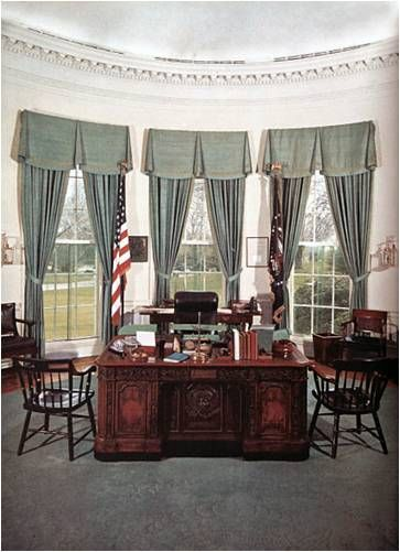 The Oval Office desk - The desk Resolute, seen here in John F. Kennedy's office on Feb. 5, 1961, was a gift from Queen Victoria to President Rutherford B. Hayes. It was built from pieces of a salvaged Arctic discovery vessel. (With the exception of the terms of Presidents Johnson, Nixon and Ford, it has been the desk used in the Oval Office, including by President Obama.)